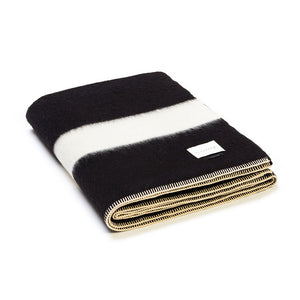 The Siempre Recycled Blanket- Black | Ivory Stripe
