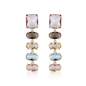 Pastel Oval Crystal Earrings
