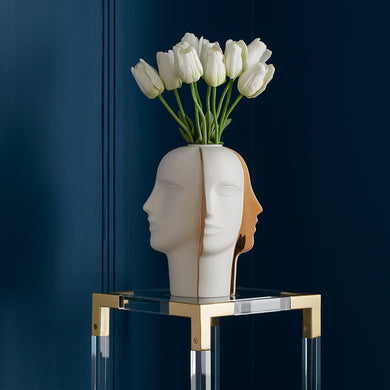 Atlas Split Vase | White/Gold