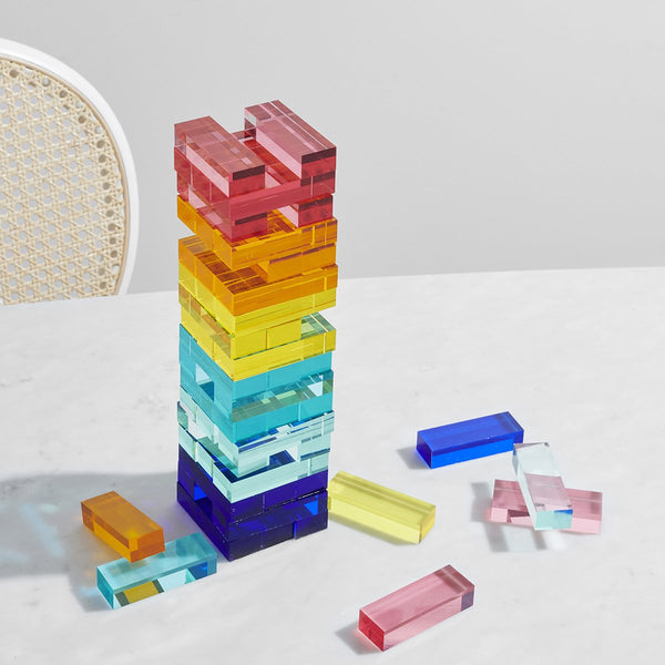 Lucite Jumbling Tower: Rainbow
