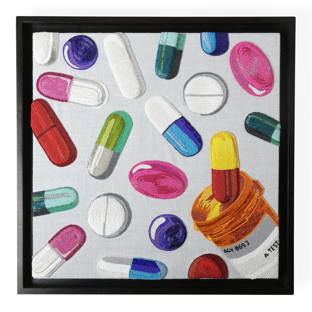 Happy Pills Beaded Art Work 24 x 24