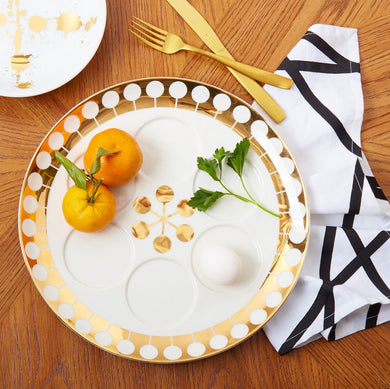 Futura Seder Plate Gold Decal | White/White/Gold