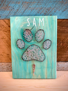 Paw Print with Leash Hook String Art