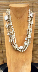 Sea Shell and Pearl Necklace - 4 Colors