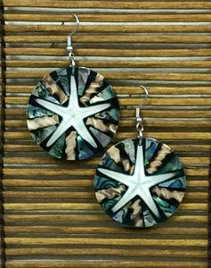 Starfish and Sea Shell Earrings in Cream