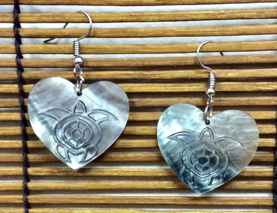 Etched Turtle Sea Shell Earrings