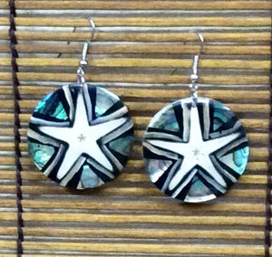 Starfish and Sea Shell Earrings in Black