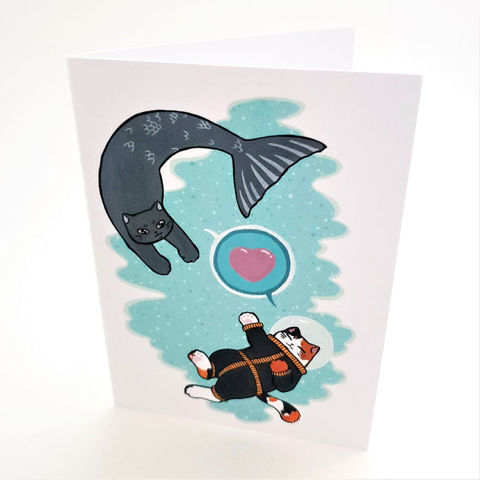 Space Boy and Prince of the Sea Greeting Card