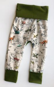 Grow with Me pants - machines + wildlife toile