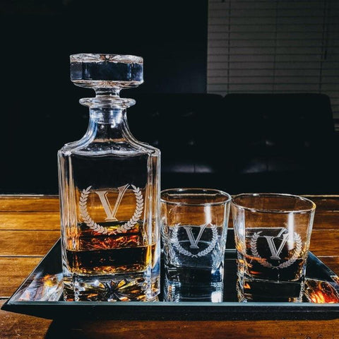 Classic Monogram Whiskey Decanter Tray with Glasses 6 pc Set Customized Gifts for Women and Men Who Love Whiskey Engraved Gifts