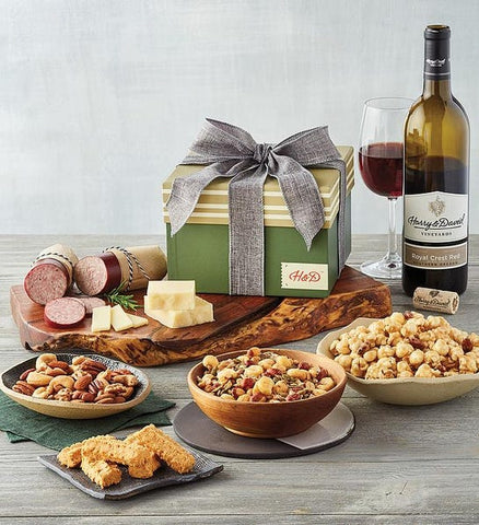 gift box with savory and sweet food and wine