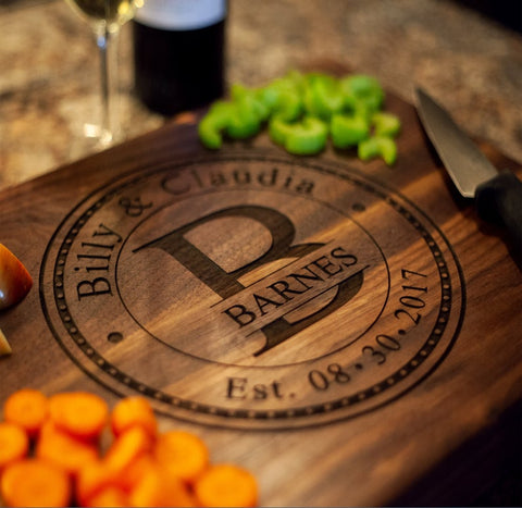 cutting board with anniversary date