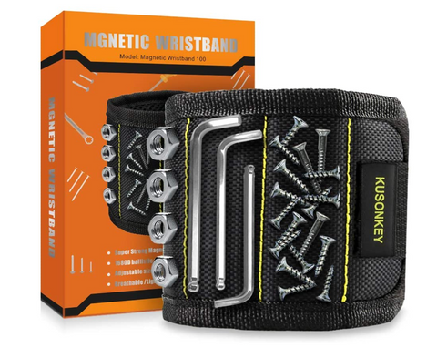 magnetic wristband for holding screws and nails