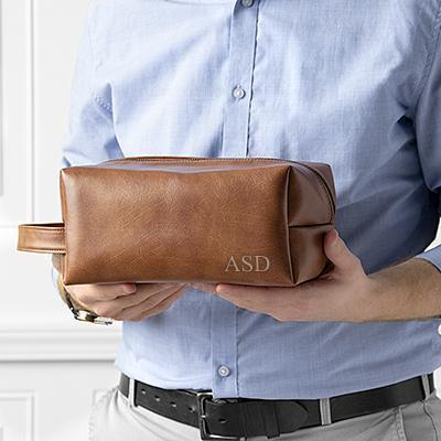 mens brown vegan leather dopp kit