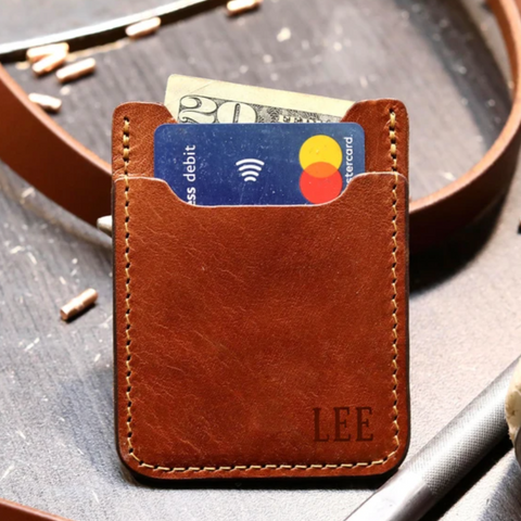 custom leather front pocket wallet