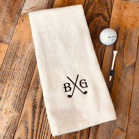 personalized golf towel with initials and club design