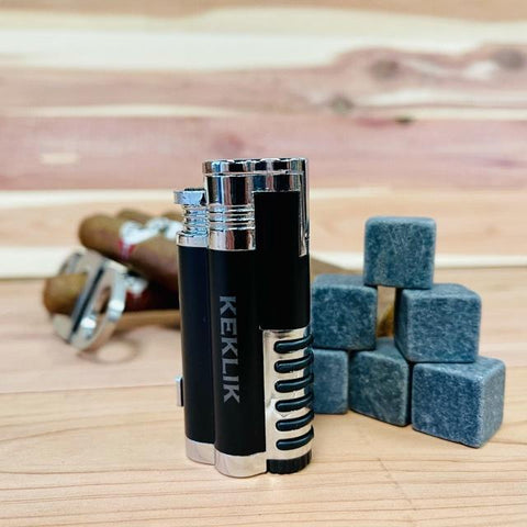 black and silver custom torch lighter