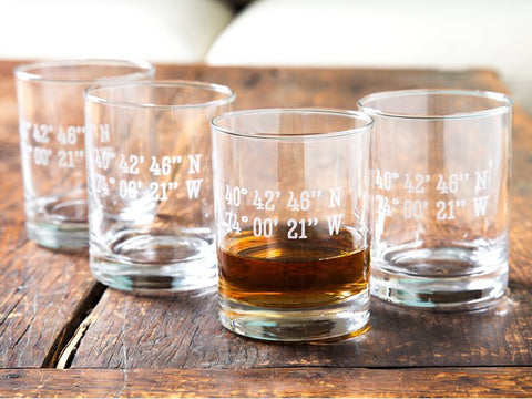 Latitude and Longitude Whiskey Glass