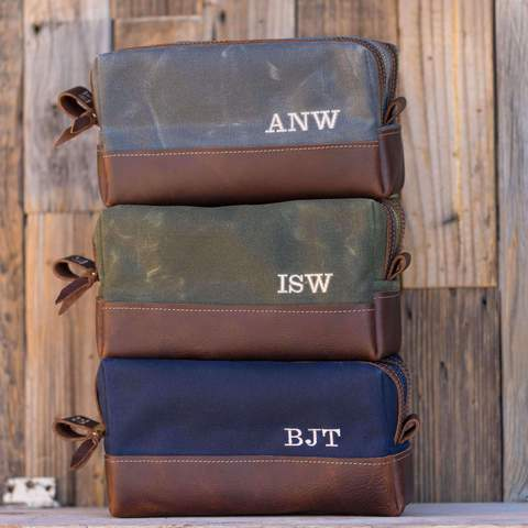 canvas and leather personalized mens dopp kit