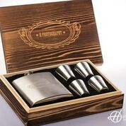 Engraved Flask & Shot Glass Set