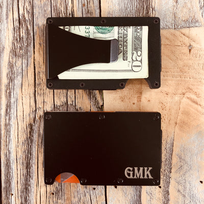 Custom Engraved Minimalist Wallet Black