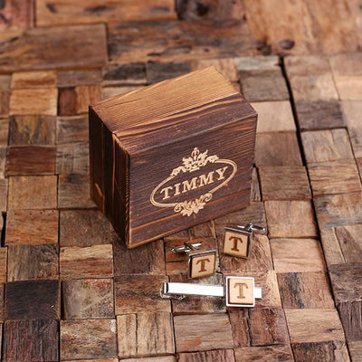 Wooden Box With Cufflinks and Tie Bar