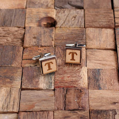 Wooden Engraved Square Cufflinks