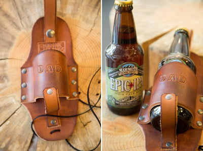 Engraved Leather Beer Holster.