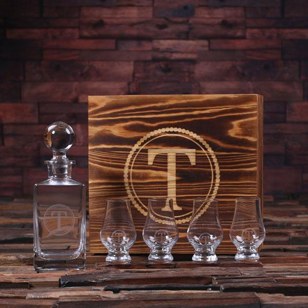 Personalized Wooden Decanter Set With Four Whiskey Glasses