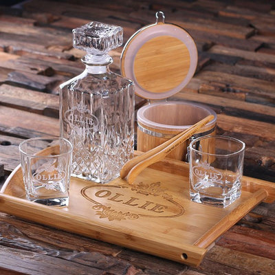 Engraved Crystal Decanter Whiskey Glass Set