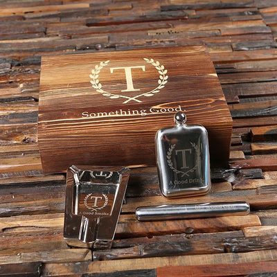 Wooden Box with Cigar Holder, Flask and Ash Trey