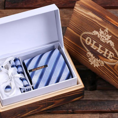 Wooden Box With Blue Stripped TIe, Tie Bar and Cuff links