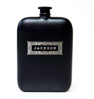 Personalized Sleek Black Flask