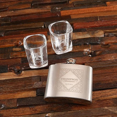 Personalized Flask and Shot Glasses