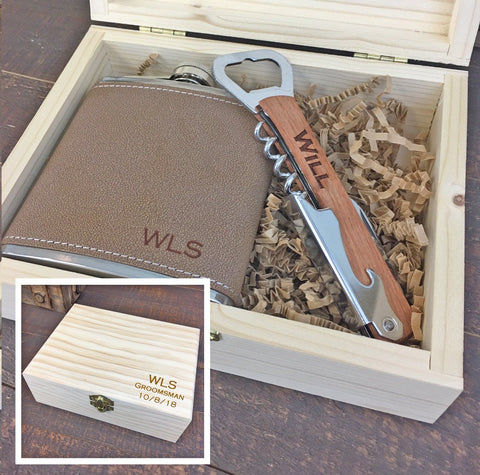 Engraved Flask & Bottle Opener Combo Set
