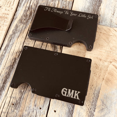 Minimalist Wallet Black Custom Message