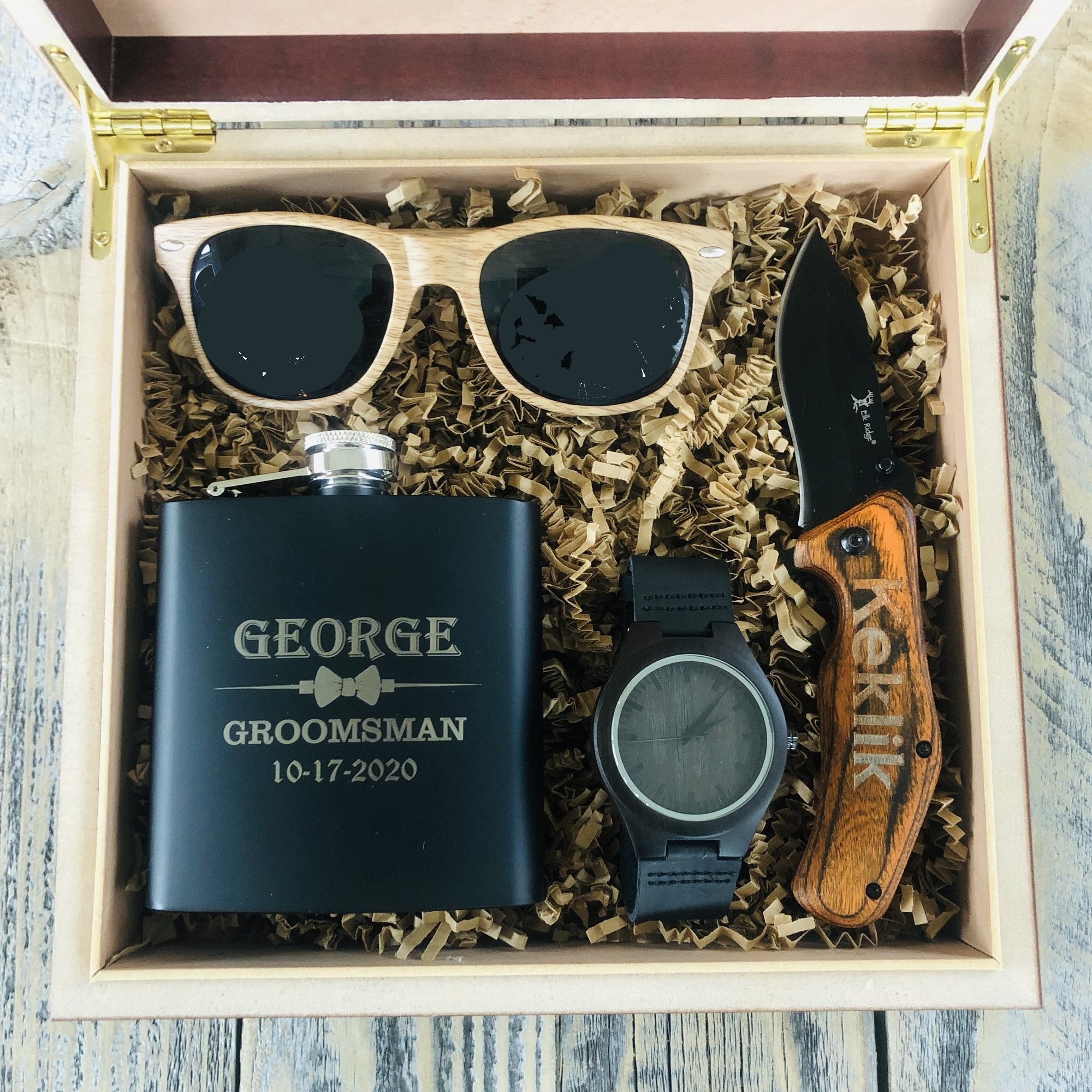 Gift Box Set with personalized knife, waych, flask, and sunglasses