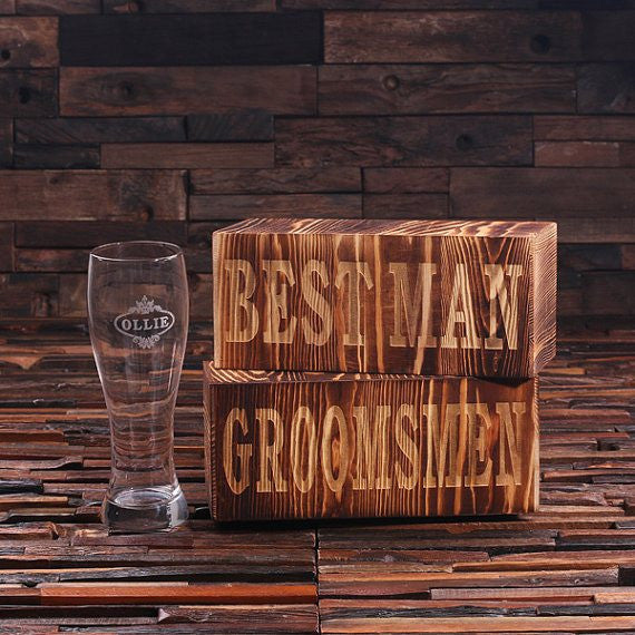 Engraved Pilsner Beer Glass