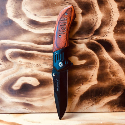 Wooden Handle, Black Blade Spring Assisted Knife