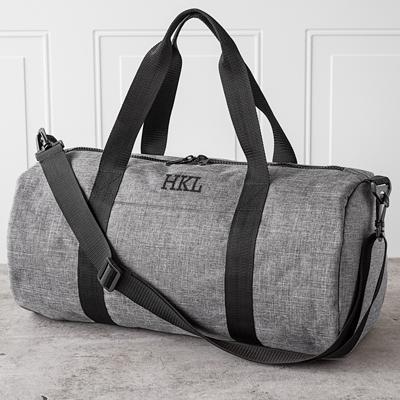 Personalized Grey Duffel Bag