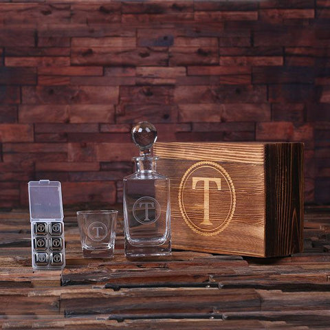 Engraved Glass Whiskey Decanter Set