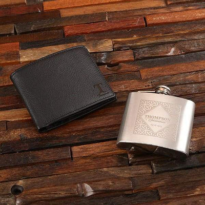 Personalized Wallet and Stainless Steel Flask