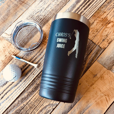 Free Personalized Name Golfing, Golfers Tumbler Sublimated Tumbler with Customized Stainless Steel Duo 15oz Duo Skinny Tumbler