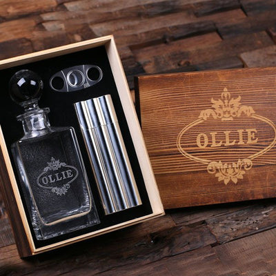 Personalized Cigar, Decanter, & Flask Combo Set