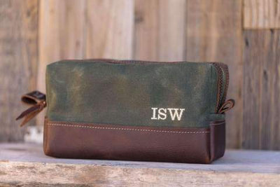 Olive Green Leather Travel Kit