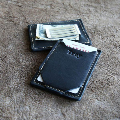 Black Leather Card Holder and Money Clip