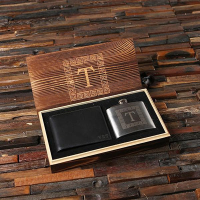 Personalized Wooden Box with Flask and Black Wallet
