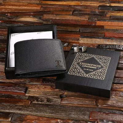 Engraved Black Leather Wallet, Cuff Links and Box
