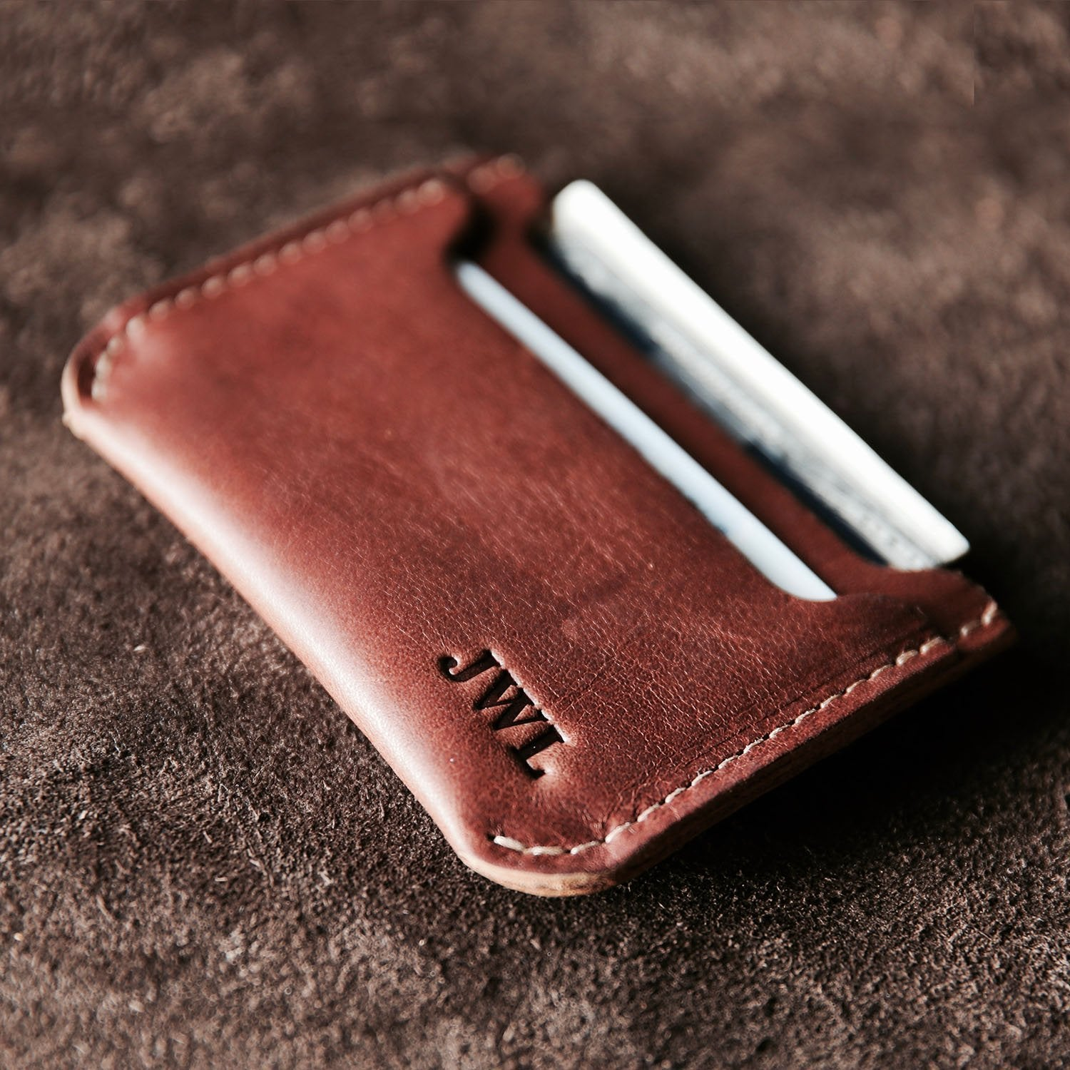 Personalized Brown Leather Minimalist Wallets