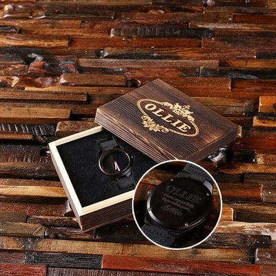 Dark Wood Engraved Groomsmen Watch and Box